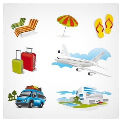 وکتور المان ها و وسایل سفر (Holidays Travel Elements)