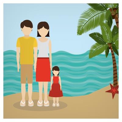 فایل برداری (وکتور) سفر خانوادگی به سواحل دریا