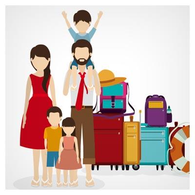 وکتور لایه باز سفر با خانواده و وسایل سفر