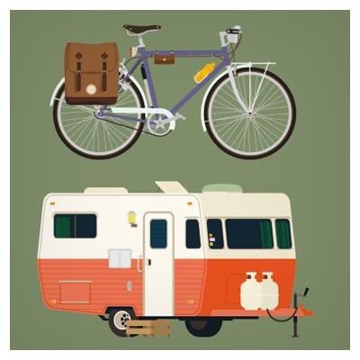 وکتور لایه باز وسایل سفر (دوچرخه ، کوله پشتی و ...)
