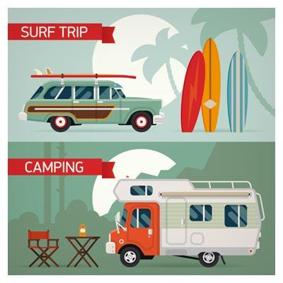 وکتور ماشین های سفر و گردشگری (Surf trip ، Camping)