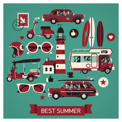 وکتور مجموعه المانی Retro سفر در تعطیلات تابستان با سبک طراحی فلت