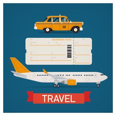 وسایل نقلیه سفر با فرمت وکتور (لایه باز)(هواپیما ، بلیط هواپیما ، تاکسی)