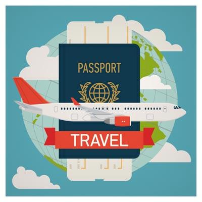 بنر وکتوری لایه باز با موضوع سفر به دور دنیا با هواپیما