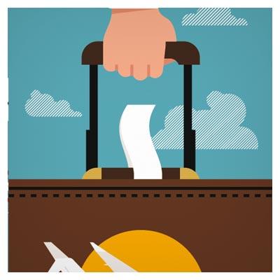وکتور لایه باز سفر تجاری (چمدان مسافرتی در دست)