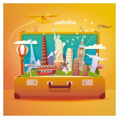 وکتور بنر چمدان سفر با المان ها و آثار باستانی و تاریخی کشورهای مختلف جهان