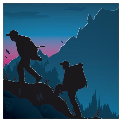 وکتور ورزش کوهنوردی و صخره نوردی (لایه باز)