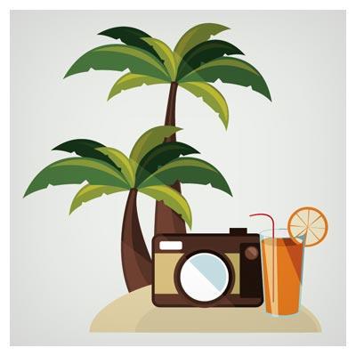 بنر وکتور درخت نخل ، دوربین و آب پرتقال (سفر و گردشگری)