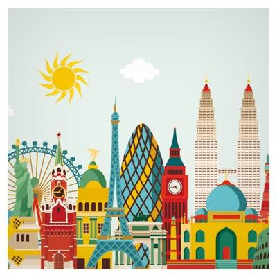 وکتور شهر با ساختمان های متنوع (گردشگری)