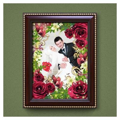 قاب تخته شاسی خانوادگی و عروسی رایگان گلهای رز قرمز