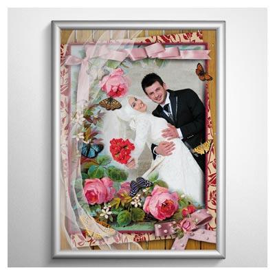 قاب و فریم عاشقانه (عروس یا خانوادگی) با طرح گل های رز