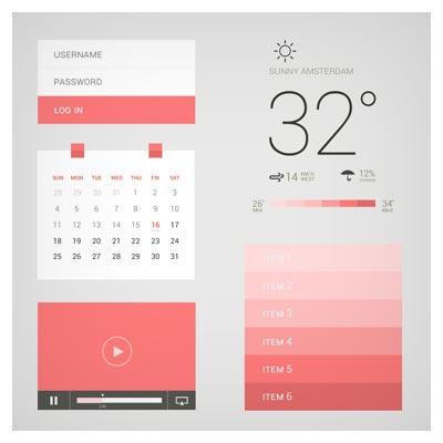 عناصر و المان های طراحی UI موبایل با تم قرمز و سبک طراحی فلت