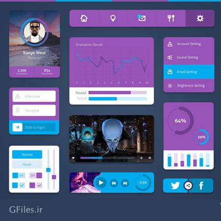مجموعه صفحه رابط کاربری اندورید با سبک طراحی فلت (مینیمال)