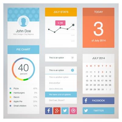 دانلود UI kit با طراحی فلت (صفحات اپ موبایل)