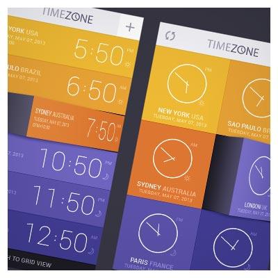 گرافیک لایه باز اپلیکیشن نمایش ساعت های مختلف جهان