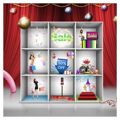 PSD رایگان فروش و قفسه فروشگاهی بصورت لایه باز
