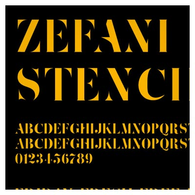 فونت انگلیسی حروف بزرگ (Uppercase)  ZefaniStencil