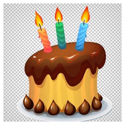 فایل دوربری شده کیک و شمع تولد