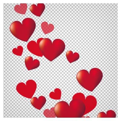 فایل بدون پس زمینه قلب های سه بعدی قرمز