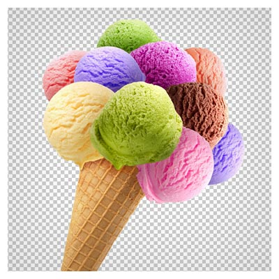 png بستنی قیفی چندقلو با کیفیت بالا