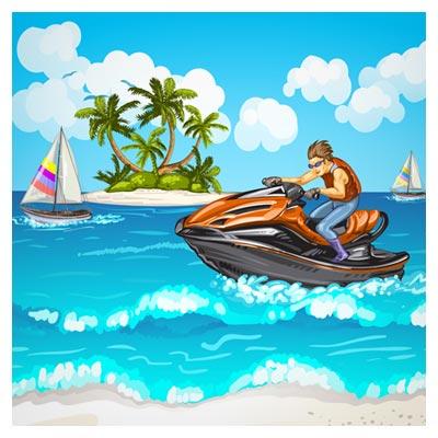 وکتور جت اسکی روی آب (وکتور انیمیشن و کارتونی)