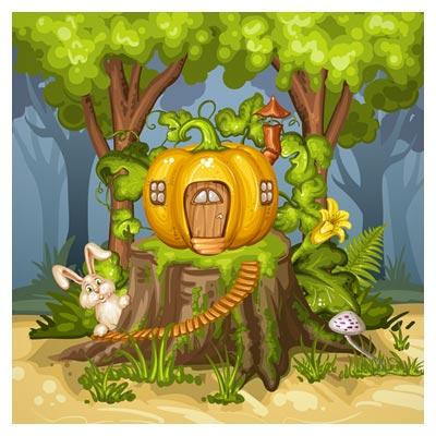 وکتور پس زمینه کارتونی خرگوش کوچولو در جنگل