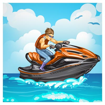 فایل کارتونی و انیمیشنی مرد در حال جت اسکی روی دریا