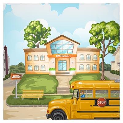 فایل کارتونی مدرسه و سرویس مدرسه با فرمت Ai