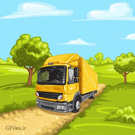 وکتور کامیون در جاده جنگلی (فایل کارتونی لایه باز)