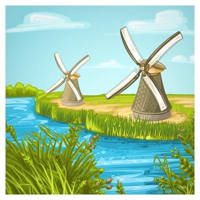 فایل کارتونی وکتور برکه آب و آسیاب بادی