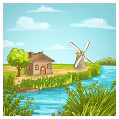 وکتور (فایل برداری) کارتونی روستانی جنگلی (آسیاب بادی)