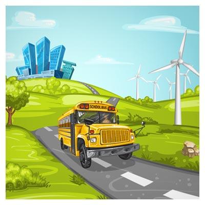 وکتور کارتونی اتوبوس مدرسه در جنگل (لایه باز Ai)