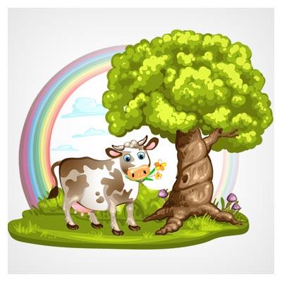 فایل کارتونی گاو ، درخت و رنگین کمان (وکتور کارتونی)