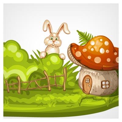 فایل رایگان وکتور کارتونی خرگوش کوچولو و خانه های قارچی