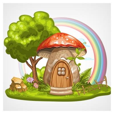 فایل رایگان وکتور کارتونی خانه قارچی در جنگل