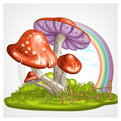 وکتور کارتونی لایه باز (Ai) قارچ های خوراکی