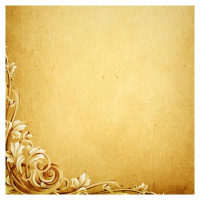 پس زمینه قدیمی قهوه ای با گلهای تزئینی حاشیه ای (کاغذ قدیمی)