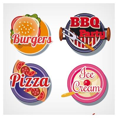 وکتور مجموعه لوگو و لیبل های خوراکی های فست فودی (BBq pizza with ice cream and sushi burgers vector labels)