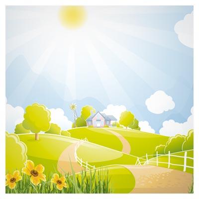 وکتور کارتونی مزرعه سرسبز روستایی بصورت لایه باز (Beautiful Natural Scenery And Sun Vector)