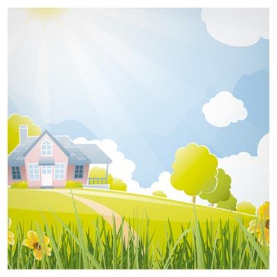 فایل لایه باز وکتور کارتونی منظره زیبای روستایی سرسبز (Beautiful Natural Scenery And Sun Vector)
