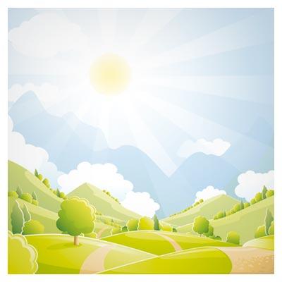 فایل کارتونی طبیعت زیبا و منظره روستایی با خورشید درخشان بصورت وکتور (Beautiful Natural Scenery And Sun Vector)