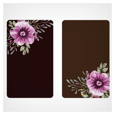 کارت لایه باز وکتور با گلهای تزئینی آبرنگی (Beautiful Watercolor Flower Business Cards Vector set)