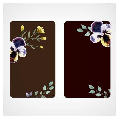 وکتور لایه باز کارت دعوت با رنگ مشکی و گلهای تزئینی آبرنگی (Beautiful Watercolor Flower Business Cards Vector set)