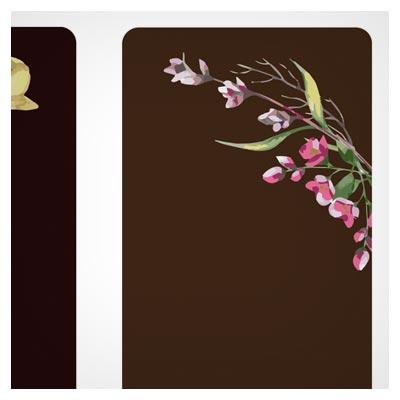 کارت دعوت وکتوری لایه باز با طرح گل های تزئینی آبرنگی (Beautiful Watercolor Flower Business Cards)