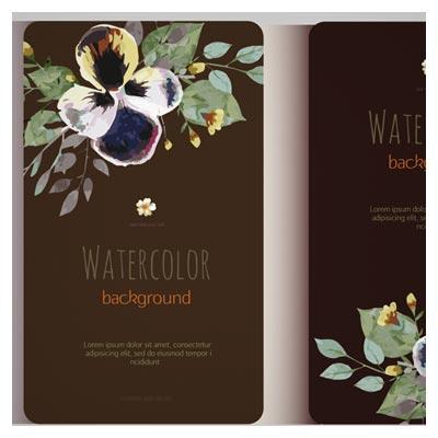 کارت دعوت با تم مشکی و طرح گلهای آبرنگی بصورت لایه باز (Beautiful Watercolor Flower Business Cards)