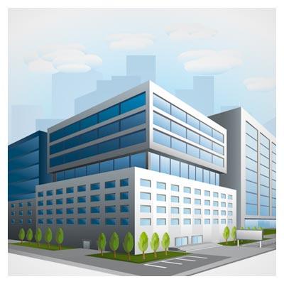 وکتور ساختمان سه بعدی بصورت لایه باز (Business Buildings Design vector)