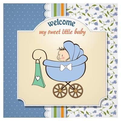 وکتور کارتونی پسر بچه در کالسکه بصورت لایه باز (Cartoon Baby Card Vector)