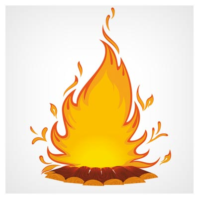 فایل وکتور لایه باز شعله (هیزم و آتش)(Cartoon Flame vector)