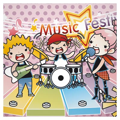 وکتور کارتونی گروه موزیک کودکانه (فستیوال موزیک)(Cartoon music Illustration vector)