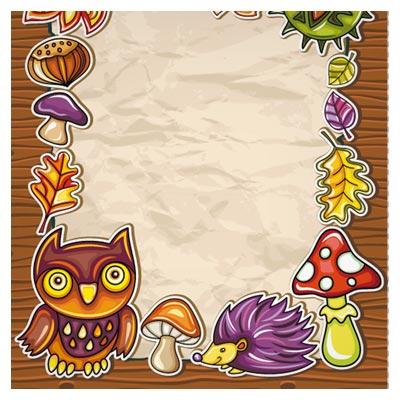 فریم کارتونی وکتور جغد ، جوجه تیغی ، قارچ و ... (cartoon Owl Photo Frame vector)